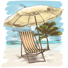 Sunbed And Umbrella On The Bac...