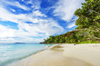 palms,white sand,granite rocks and turquoise water at tropical beach, seychelles 4