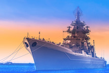 Warship. Ship On Sunset Background. Military Naval Forces. Contour Of The Cruiser.