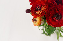 Luxury Deep Red Flowers Closeup With Copy Space On White Wood Background. Romantic Spring Holidays Backdrop.
