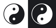 Yin And Yang Symbol, Vector. Two-tone Version On Black And White Background