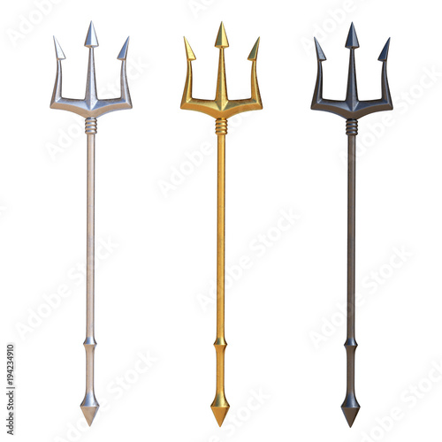 Tridents, silver, golden and black metal, isolated on white background, 3d rendering © koya979