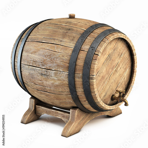 Canvastavla Wooden barrel isolated on white background, wine, beer, alcohol drink storage 3d