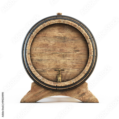Wooden barrel isolated on white background, wine, beer, alcohol drink storage 3d illustration Fototapete