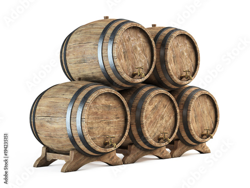 Fényképezés Wooden barrels stack isolated on white background, Wine cellar 3d illustration