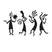 Stylized Musicians Dancing Fig...