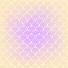 Fish Scale On Trendy Gradient Background. Square Backdrop With Fish Scale Ornament. Bright Color Transitions. Mermaid Tail Banner And Invitation. Underwater And Sea Pattern. Warm Peachy Colors.