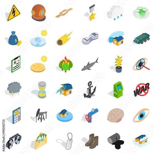 Fotografie, Obraz  Destroy nature icons set, isometric style