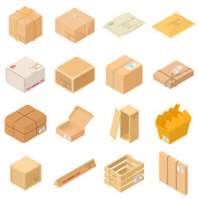 Parcel Packaging Box Icons Set, Isometric Style