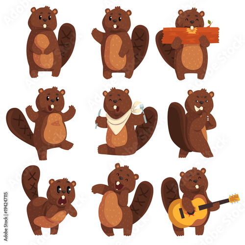 Photo Cute funny character beaver in different actions set of cartoon vector Illustrat