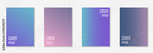 Fototapety, obrazy: Minimal trendy cover template set. Futuristic layout with halftones. Geometric minimal cover template for book, catalog and annual. Minimalistic colorful gradients. Abstract business illustration.