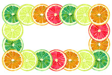 Grapefruit, Orange, Lime And Lemon, Horizontal Frame For Greeting Card Or Banner Design, Hand Painted Watercolor Illustration, White Background