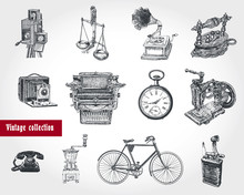 Retro Style Set. Movie Camera, Typewriter, Gramophone,  Scales, Hours, Grinder, Telephone Set, Bicycle, Old Iron, Sewing Machine, Lighter. Ancient Objects. Vintage Illustration In Engraving Style