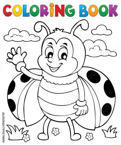 Fototapeta premium Coloring book ladybug theme 5
