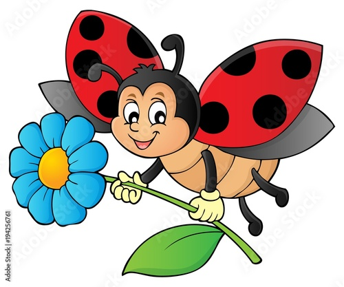 Door stickers For Kids Ladybug holding flower theme image 1