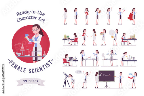 Obraz na płótnie Female scientist ready-to-use character set