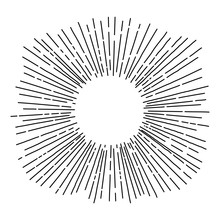 Hand Drawn Sun Rays In Vintage Style. Isolated Objects. Black And White Vector Illustration. Line Drawing. Radial Frame.