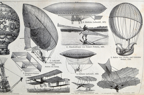 Vintage illustration - AERONAUTICS. Meyers Kleines Lexikon. Edition 1908.