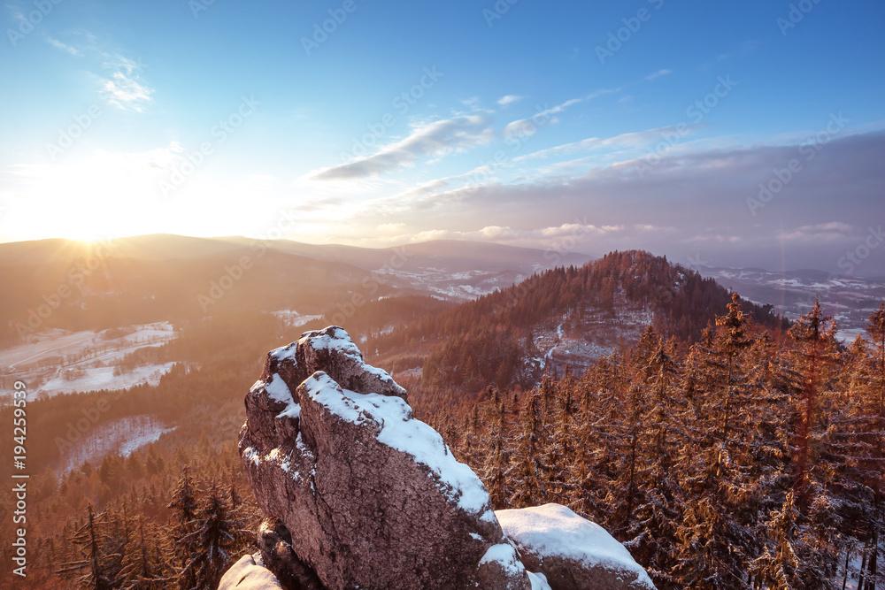 Fototapety, obrazy: Frosty sunrise in Rudawy Janowickie mountains, Lower Silesia, Poland