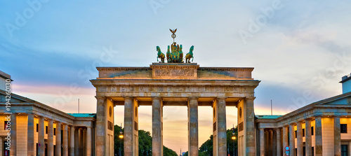 Tuinposter Berlijn Brandenburg gate illuminated at sunset , Berlin, Germany
