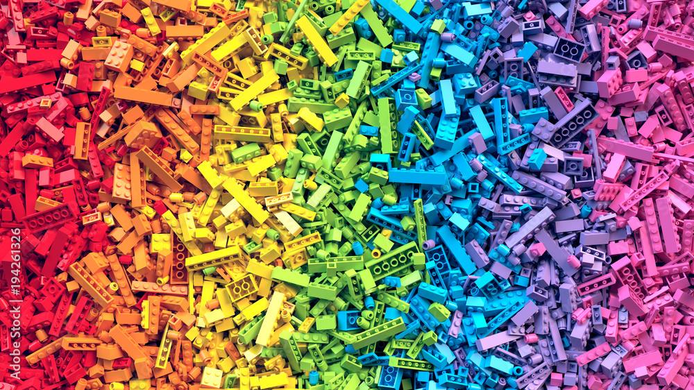 Fototapety, obrazy: Lot of colorful rainbow toy bricks background