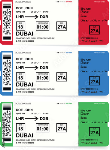 Airline Boarding Pass Tickets Set With Shadow Isolated On White