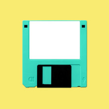 Floppy Disk 3.5 Inch Nostalgia, Isolated And Presented In Punchy Pastel Colors With Blank White Customizable Label, For Creative Design Cover, CD, Poster, Book, Printing, Gift Card, Flyer, Web & Print