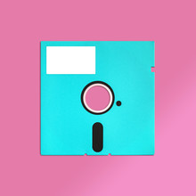 Floppy Disk 5.25 Inch Nostalgia, Isolated And Presented In Punchy Pastel Colors With Blank White Customizable Label, For Creative Design Cover, CD, Poster, Book, Gift Card, Flyer, Web & Print