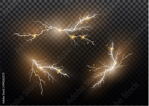 A set of lightning Magic and bright light effects Wallpaper Mural