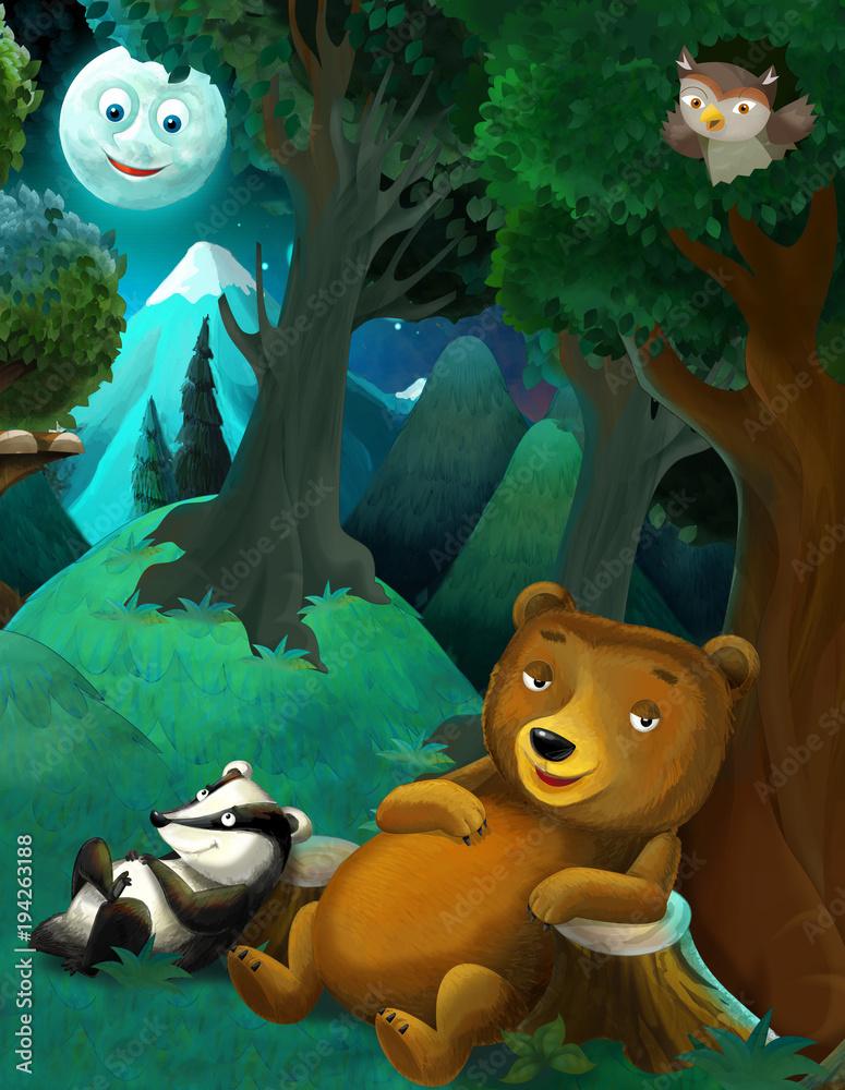 sceny kreskówki z dzikich zwierząt niedźwiedź sowa i borsuk odpoczynku w lesie - ilustracja dla dzieci