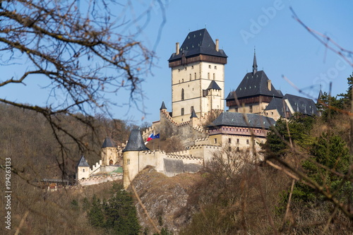 Gothic castle Karlstejn founded by Charles IV, Holy Roman Emperor and King of Bo Poster