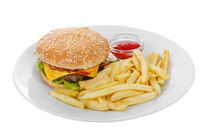 Burger With French Fries And K...