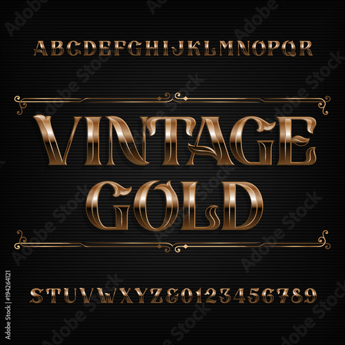 Fototapety, obrazy: Vintage gold alphabet font. Ornate metal effect letters and numbers. Stock vector typeface for your design.
