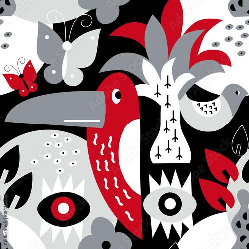 Photo sur Aluminium Art abstrait Modern vector pattern with birds and plants.