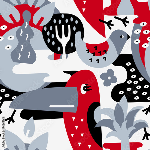 Cotton fabric Modern vector pattern with birds and plants.