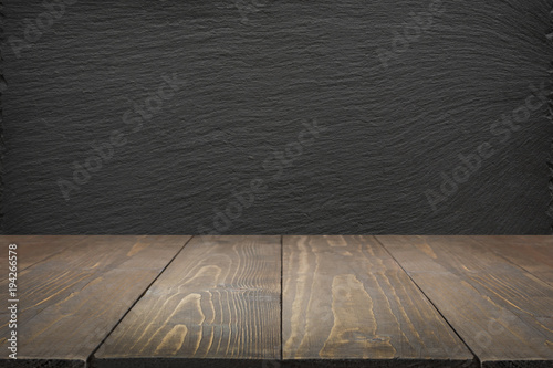 Kitchen Abstract Background Empty Wooden Tabletop And Black Slate Chalkboard For Display Or Montage