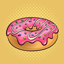 Donut Pop Art Vector Illustrat...
