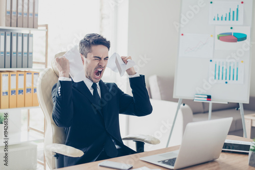 Fotografie, Obraz  Aggressive irritated despair nervous fury people overworking tiredness workpaper person concept
