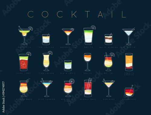 Fototapeta Poster cocktails flat menu dark blue obraz na płótnie