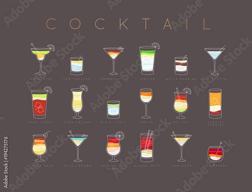 Fototapeta Poster cocktails flat menu brown obraz na płótnie