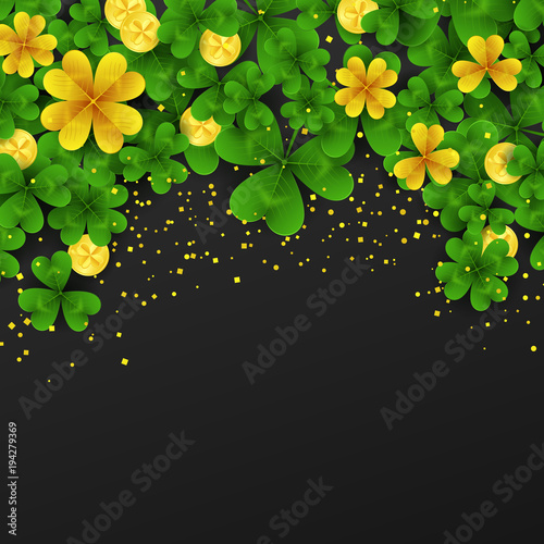 Saint Patrick Day Border With Golden Shimmergreengold Four