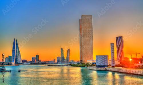 Photo Skyline of Manama at sunset. The Kingdom of Bahrain