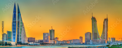 Foto op Canvas Midden Oosten Skyline of Manama at sunset. The Kingdom of Bahrain