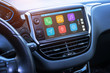 canvas print picture - Car infotainment board display with apps. Modern car interior.