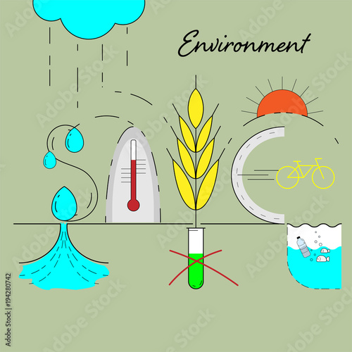 Save Environment Typographic And Infographic Concept Design