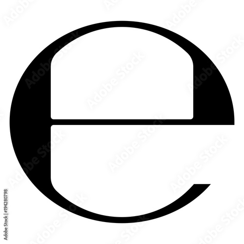 Obraz Estimated sign vector illustration. Isolated black e-mark or e symbol on white background