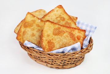 Brazilian typical pastry called pastel in white background