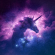 canvas print picture - A unicorn silhouette in a galaxy nebula cloud. Raster illustration.