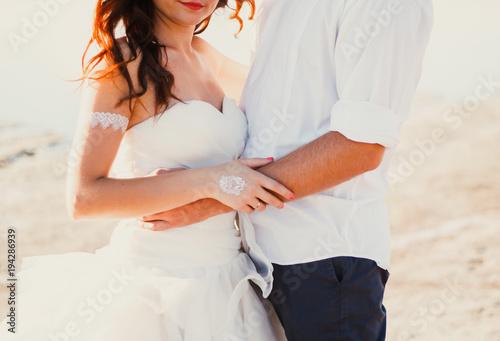 Wedding Couple Hugs On The Sea Beach Sunny Summer Photo Bride With