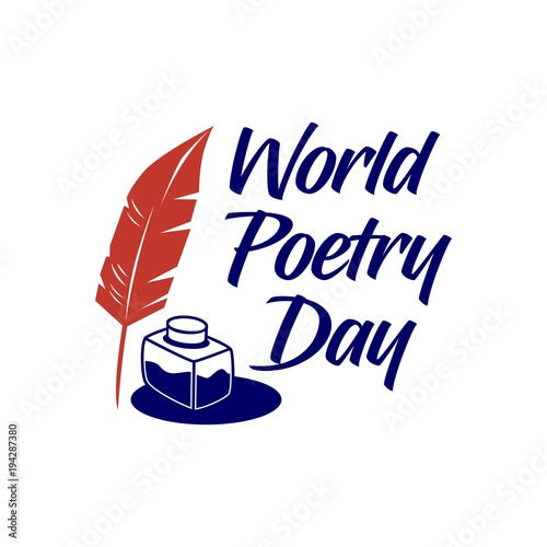 world poetry day. vector illustration. minimalist. logo. sticker. greeting card Wall mural